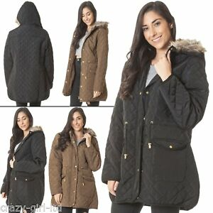 Womens-Collar-Italian-Long-Polyester-Coat-Diamond-Quilted-Jacket-Puffer-Fur