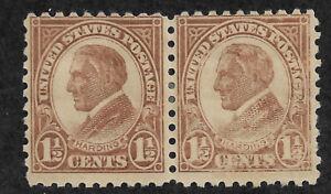 US #582 (1925) 1 1/2c Warren Harding, brown - EFO: under inked (Fading) - MH