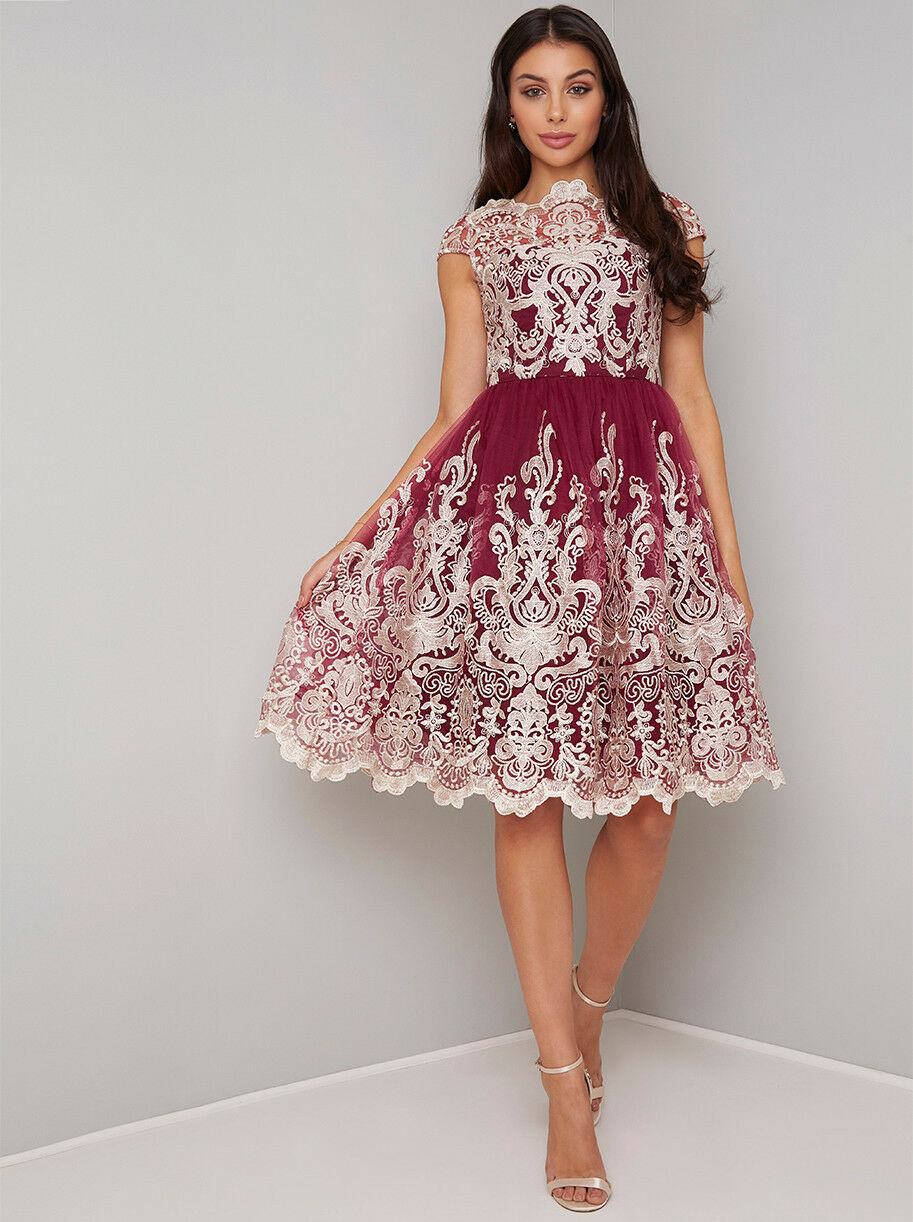 CHI CHI London  Sleeve Baroque Embroiderot Prom Mesh Dress  10 14 16 Berry Gold
