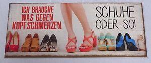 G3762: Nostalgie Blechschild, Kopfschmerzen, Schuhe, lustiges Wandschild 13x31