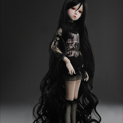 "Dollmore 1/4 BJD MSD wig  (7-8)"" Rapunzell Long Wig (Black)"