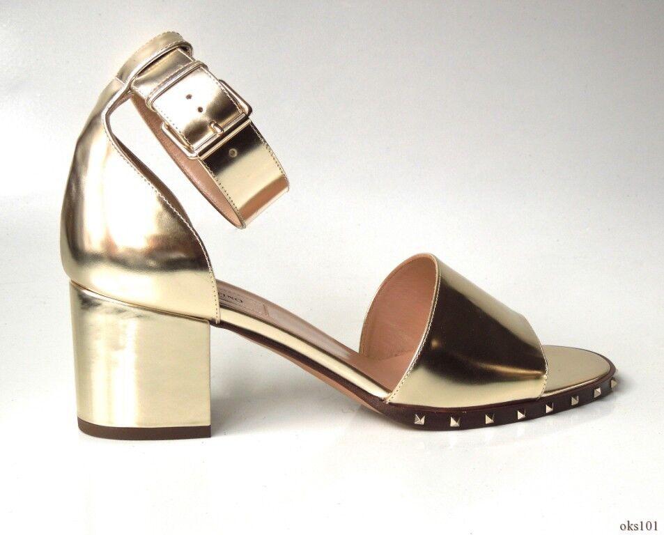 Nouveau  995 Valentino Soul Soul Soul or cuir rockstud Bride Cheville Bloc Chaussures 38.5 8.5 07de3e