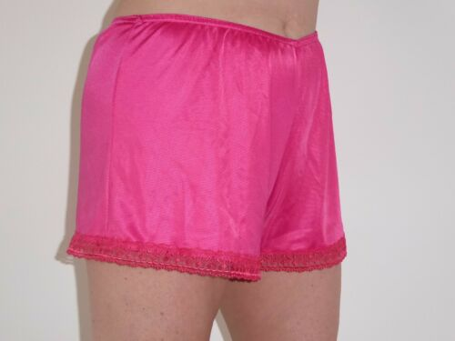 Cerise Satin French Knickers 10//12 in  Simplex Nylon with Cerise Lace