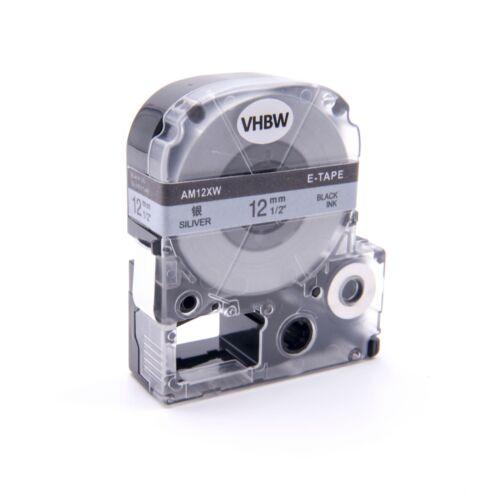 original vhbw® Label Tape 12mm SCHWARZ-SILBER für EPSON LabelWorks LW-300