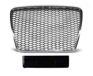 Fuer-Audi-A6-4F-04-12-RS6-Look-Wabengrill-Stossstangen-Led-Scheinwerfer-Grill-01
