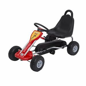 35-Pedal-Go-Kart-Kids-Children-Racing-Wheel-Rider-w-Hand-Brake-Red-Black