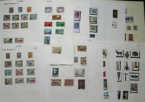 Cyprus-QEII-Untidy-Collection-on-Album-Leaves-with-range-of-pictorials-Stamps