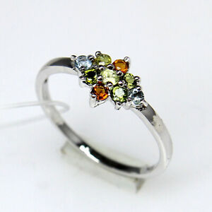Natural Multi Color Round Gemstone 925 Sterling Silver Women Designer Tiny Ring