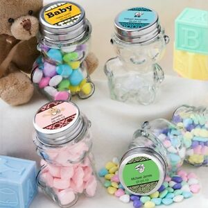 40 personalized glass teddy bear treat jars baby shower party gift image is loading 40 personalized glass teddy bear treat jars baby negle Images