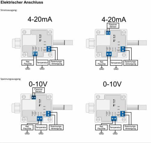 Aussenfeuchte Aussenkombifühler 4-20mA oder 0-10V wählbar Feuchtefühler