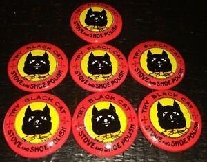 6 Repro Black Cat Stove /& Shoe Polish Pin Button New NOS 1980s