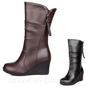 womens-ladies-Wedges-boots-faux-leather-Zip-shoes-Fashion-mid-calf-booties-Size