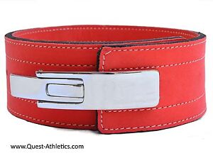 Quest Varsity Lever Belt Weightlifting Powerlifting Strongman - Warm Red