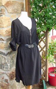jolie-robe-chemise-NOIR-zip-col-grande-taille-46-48-CHIC-TENDANCE
