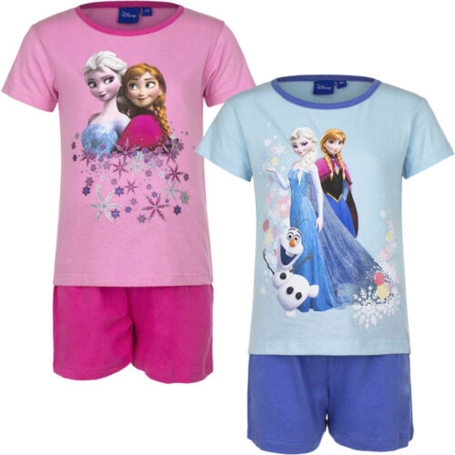 NEUF Pyjama Set Pyjama court fille Frozen Rose Bleu Rose 104 110 116 128 #64