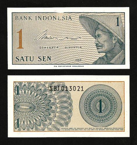 INDONESIA 1 SEN 1964 UNC P-90r REPLACEMENT WITH ERROR