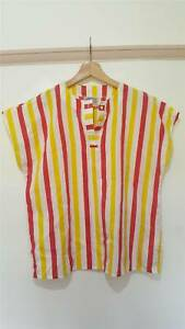 Vintage-80s-Status-Candy-Striped-Top-Tee-Boxy-Retro-Size-M-UK-10-12