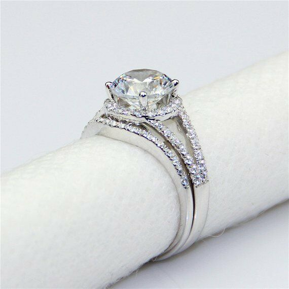 6.5 MM Solitaire 1.00 Ct Moissanite Bridal Engagement Ring Set 14k White gold GP