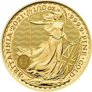 Gold Britannia 1/10   2021 Goldmünze 9999 The Royal Mint