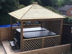 Gazebo wooden hot tub cover jacuzzi shelter spa cover and for Hot tub shelters