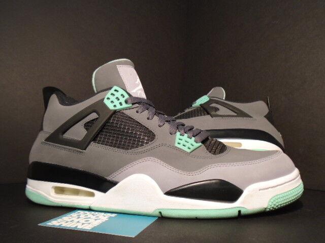 Nike Air Jordan IV 4 Retro CEMENT GREY WHITE BLACK GREEN GLOW 308497-033 12 Seasonal clearance sale