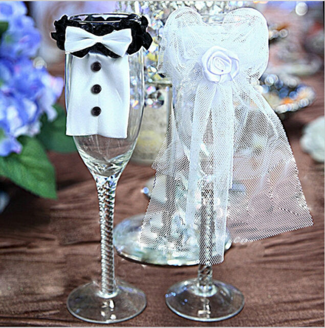 Bride Groom Wedding Bridal Party Wine Glass Champagne Flute Decoration Cover Hot