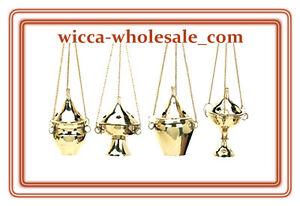 Lot of 4 Hanging Brass Censer Incense Charcoal Cone Resin Burner FREE SHIP !