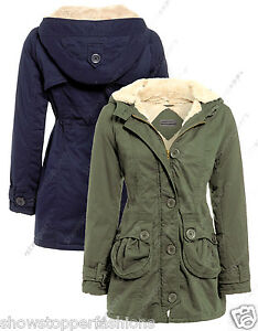 84b02b906e2 NEW Womens FUR LINED CANVAS PARKA Ladies JACKET COAT PADDED Size 8 ...
