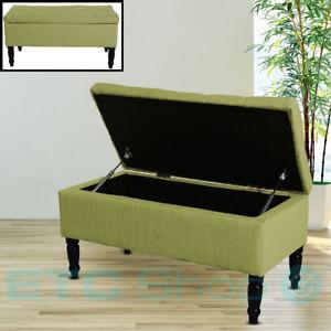 Design-Polstertruhe-Stoff-Sitzbank-Holzbeine-Flur-Aufbewahrung-Moebel-Box-gruen