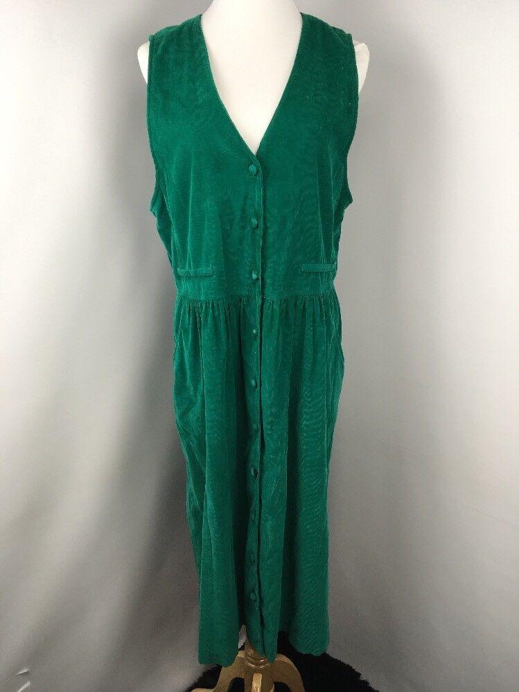 VTG TALBOTS Corduroy Emerald Green Sleeveless Button Up Shirt Western Dress 16