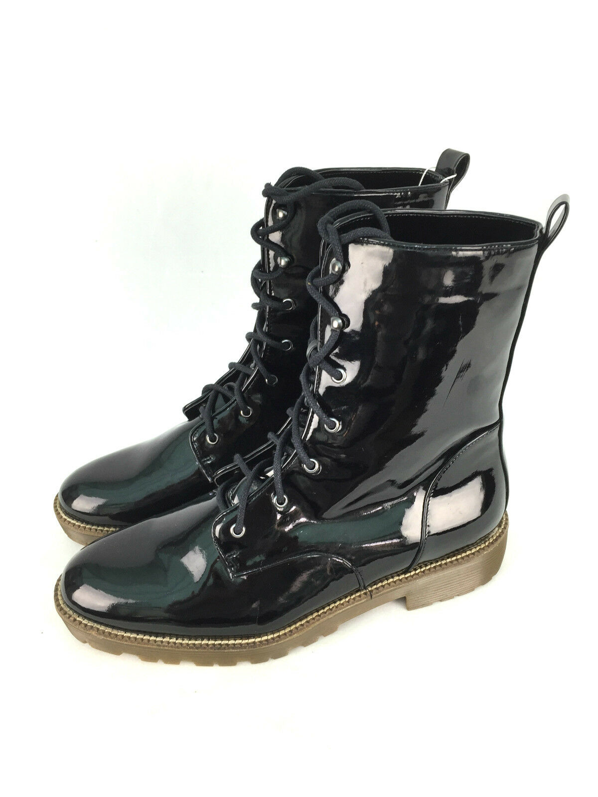 ZARA LACE UP PATENT ANKLE BOOTS SIZE UK7/EUR40/US9