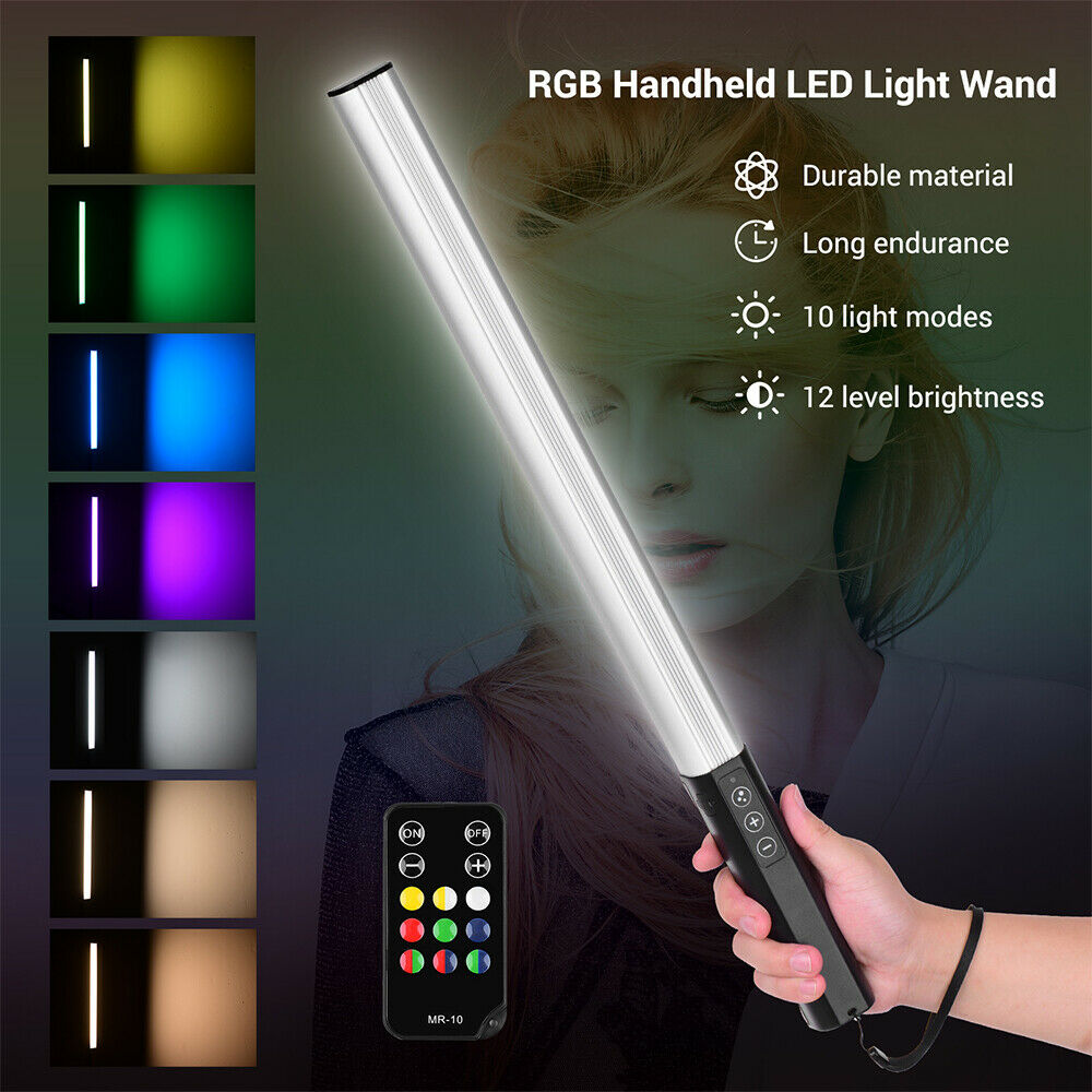 RGB Handheld LED Light Wand Rechargeable Photography Light Stick w/ Remote + Bag