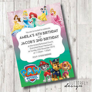 Image Is Loading Disney Princess Amp Paw Patrol Birthday Party Personalised