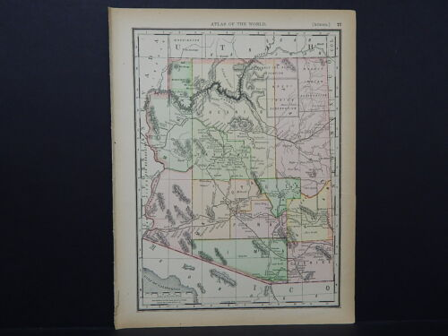 Antique Map 1894, Single Sided M4#81 Arizona