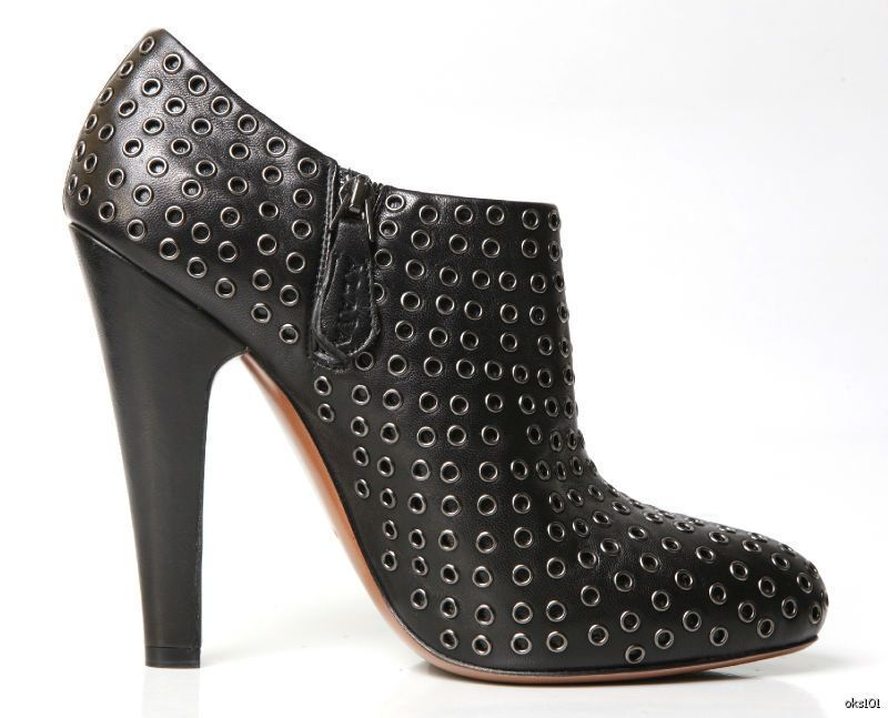 New    1630 ALAIA schwarz leather STUDDED GROMMETS ANKLE Stiefel 38.5 US 8.5 1fc3f4