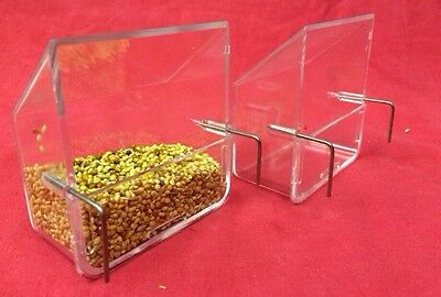 2 Bird Feeders Cage Clip On Flush External Seed Water Food Bowls 2 Hook Cup 8 Cm