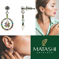 Rhodium Plated Earrings W/ Clove Design & Quality Color Crystals By Matashi on sale