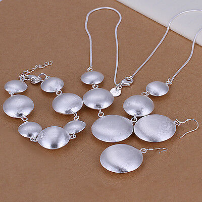 Nice! Sterling Solid Silver Discus Bracelet&Necklace&Earring Sets DAS019 + box
