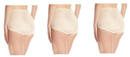 3 Vanity Fair Perfectly Yours Lace Nylon Brief Rose Beige 13060 Panty Size 6 7 8
