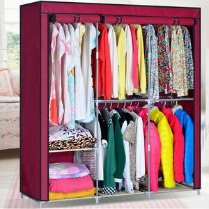 removable wardrobe cabinet closet bedroom large capacity clothes hanging armoire ebay. Black Bedroom Furniture Sets. Home Design Ideas