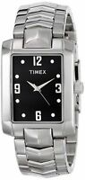 Timex Men's T2P268 Crystal Black Rectangle Dial Silver-Tone Bracelet Watch