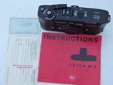 Beautiful Leica M5 black 2 lug camera with cap/cards/book/case/strap, REAL NICE