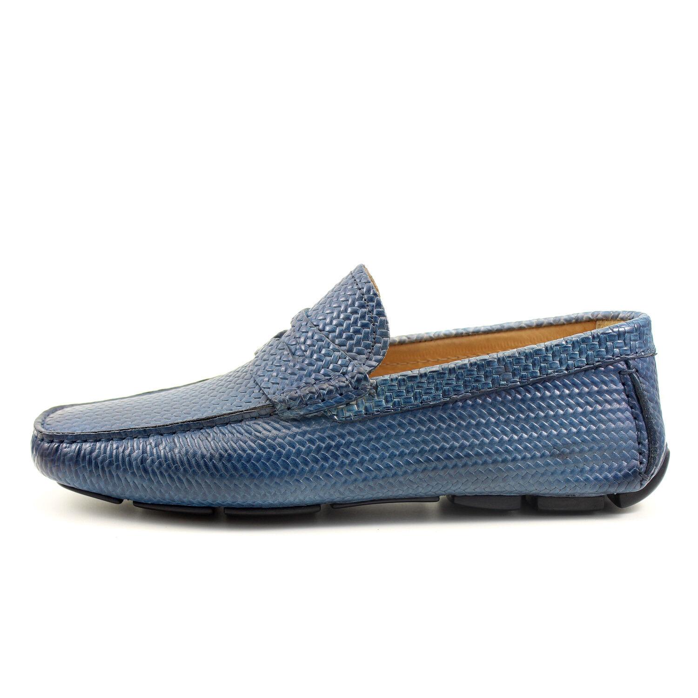 MOCASSINI UOMO DENIM car shoes fatti GIORGIO a mano in Italia GIORGIO fatti REA scarpe 7886BL 869aa2