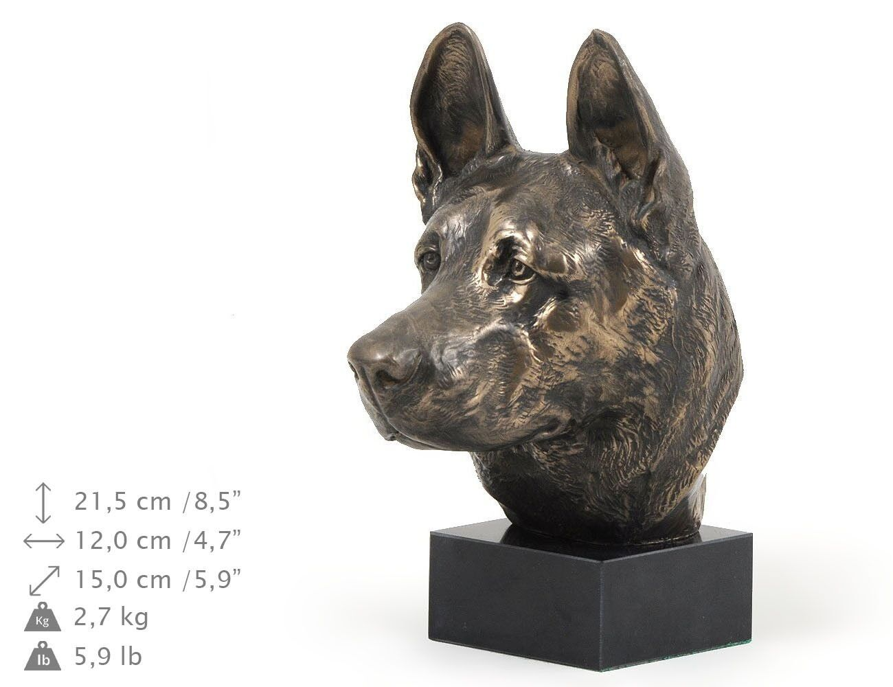 German Shepherd - dog figurine on the marble base, high quality Art Dog