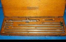Starrett 124c 8 32 001 Solid Rod Inside Micrometer With Original Wood Case