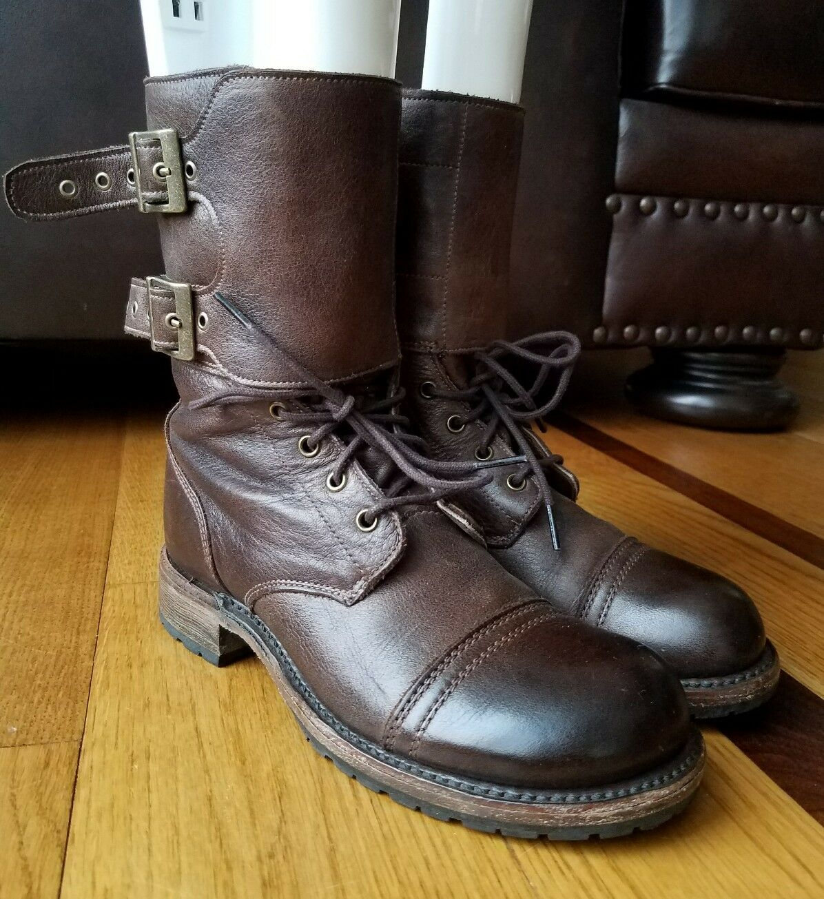 VINTAGE SHOE CO Womens Brown Leather Combat Boot Lace Up Side Zip Buckle 6 M USA