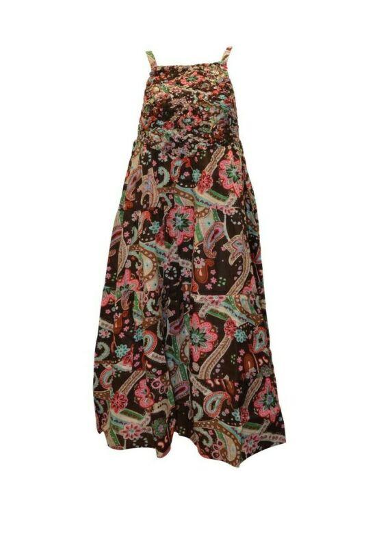 100% Baumwolle Boho Hippie Retro Riemchen Elastisch Blumenmuster Maxikleid P17