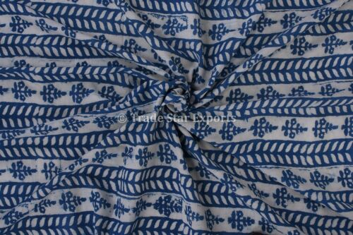 Hand Block Print Crafting Fabric Ethnic Cotton Dress  Making Fabric By The Yard