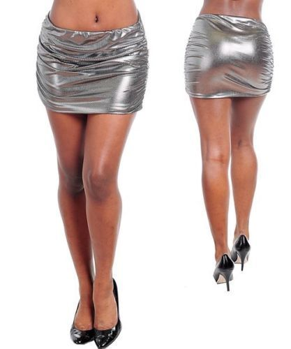 S//Small SILVER,Stretchy Clubbing Mini Skirt I32