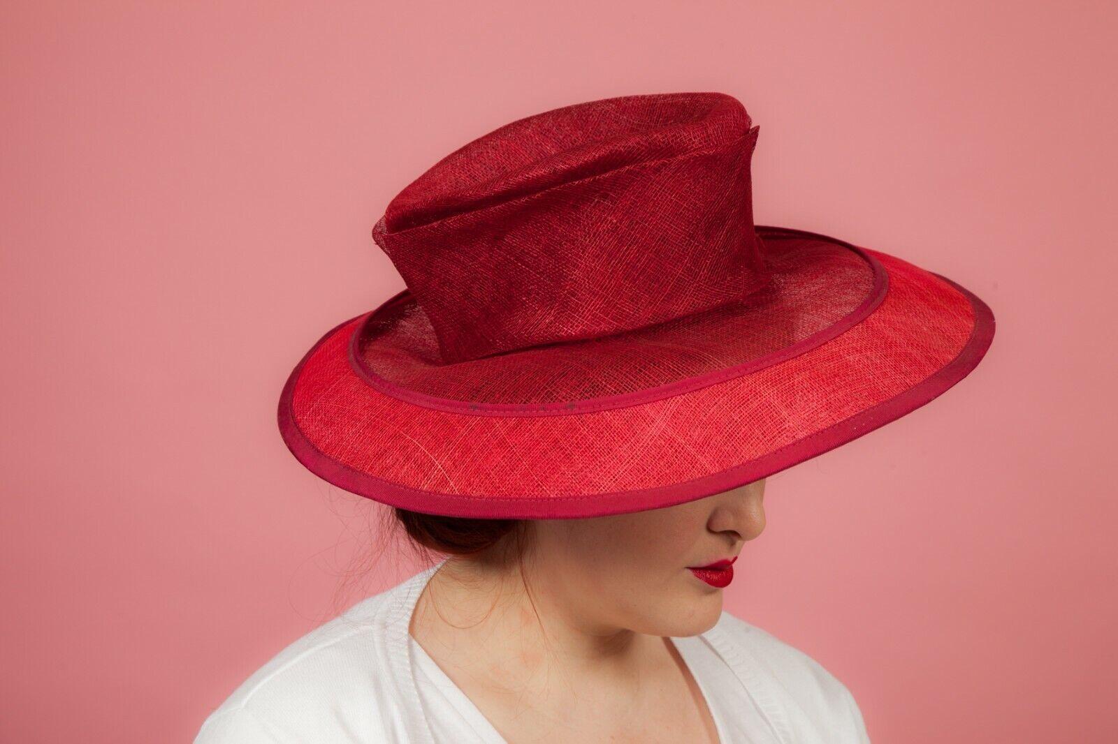 Large red formal hat by Pamela Bromley
